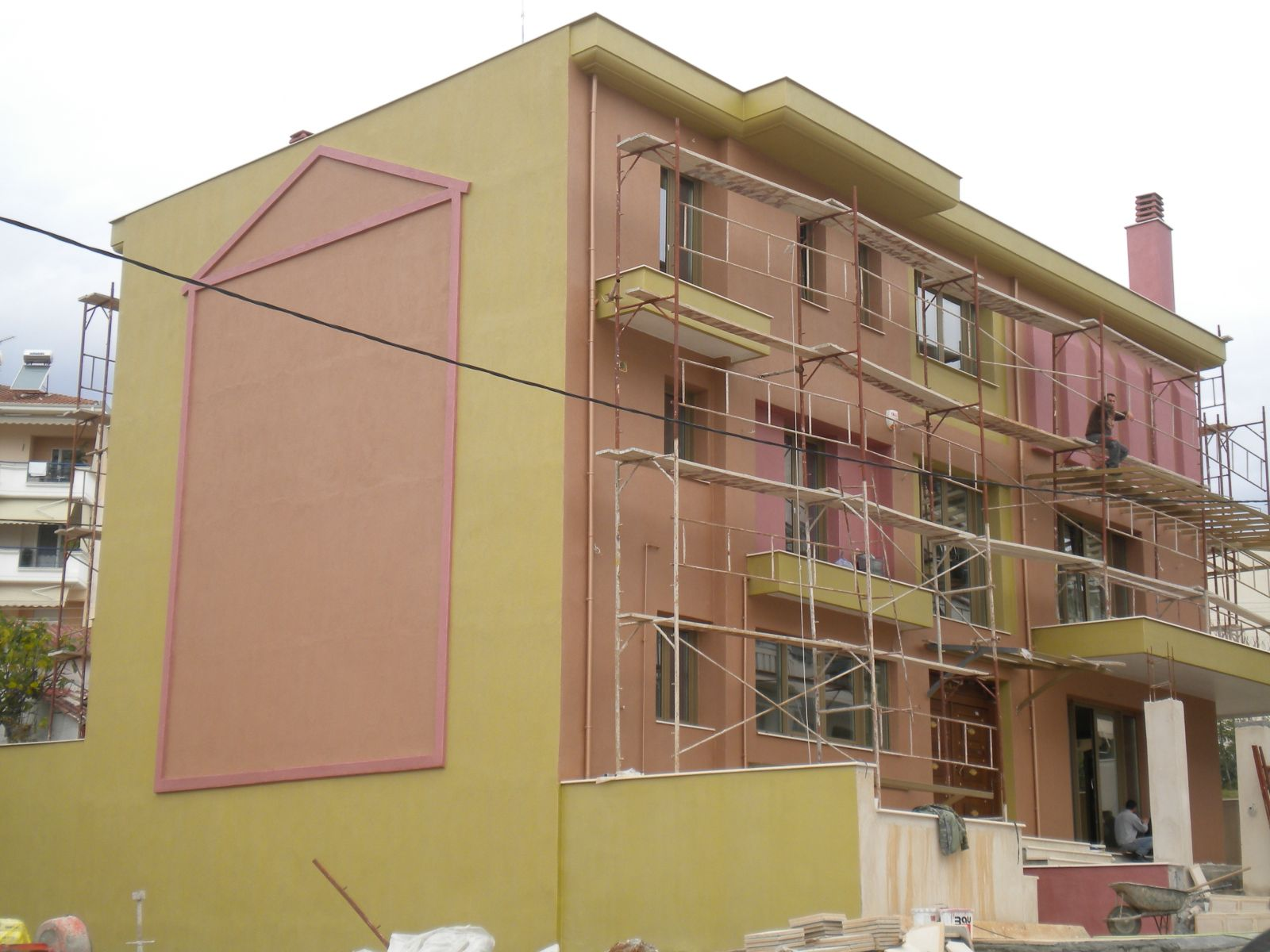 Εξωτερική θερμοπρόσοψη με θερμοσοβά Tektoterm σε ιδιωτική κατοικία στο Κλικίς επιφάνειας 700sqm