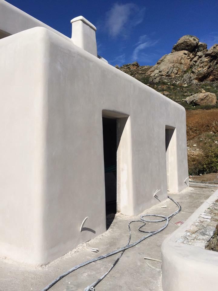Εξωτερική θερμοπρόσοψη με θερμοσοβά Tektoterm σε κατοικία στην Μύκονο